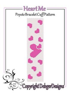 Heart Me - Beaded Peyote Bracelet Cuff Pattern | DebgerDesigns - Patterns on ArtFire