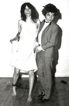 Patti Smith and Lizzy Mercier Descloux as Arthur Rimbaud and his sister, Isabelle Rimbaud.Photographed in 1977 by Michel Esteban.