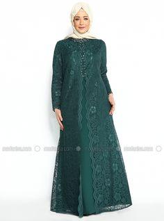 Üzeri Dantel Kaplamalı Abiye Elbise - Yeşil- Nurla Abiye Dress Brukat, Hijab Style Dress, Kebaya Dress, Dress Pesta, The Dress, Dress Outfits, Fashion Dresses, Dress Brokat Muslim, Dress Brokat Modern