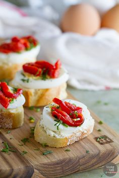 Perfect for holiday entertaining and beyond, this Egg and Pepper Crostini Recipe is a cinch to put together and full of flavor. It will be the unexpected hit!: