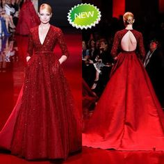 Find More Evening Dresses Information about Exquisite And Luxurious Backless Long Evening Dress 2015 V neck Full Sleeve  Elegant Lace Floor Length Red Evening Gown,High Quality dress bridal gown,China gowns for fat women Suppliers, Cheap gowns with long sleeves from BURBERLI STORE  on Aliexpress.com