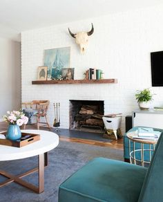 Decorating Around an Off-Center Non-Functional Fireplace Mid Century Modern Fireplace Makeover, Brick Fireplace Makeover, Fireplace Remodel, Fireplace Mantels, Fireplace Update, Diy Mantel, Mantle Shelf, Mantel Ideas, Wood Mantle