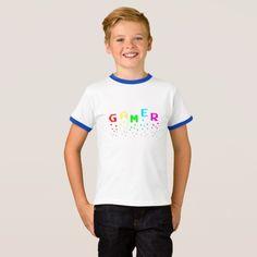 GAMER Kids' Basic Ringer T-Shirt, White/Blue T-Shirt
