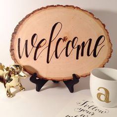 Welcome Rustic Wood Burned Sign by onefinemorningstudio on Etsy