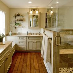 Wood floors and cabinet color. Refined Rustic Master Bath Remodel: Ambler, PA - traditional - bathroom - philadelphia - by HomeTech Renovations, Inc. Rustic Master Bathroom, Rustic Bathroom Designs, Rustic Bathrooms, Master Shower, Mirror Bathroom, Design Bathroom, Modern Bathroom, Kitchen Design, Bronze Bathroom