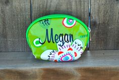 Small Pattern Cosmetic Bag or Coin Purse - Lime