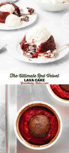 This decadent and festive red velvet lava cake bakes up as a tender red velvet flavored lightly chocolate moist cake with an oozing chocolate center! #cake #lavacake #moltencake #redvelvet #chocolatecake #valentinesday #christmas #valentinesdaydessert #christmasdessert