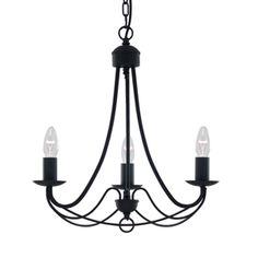 Maypole - sviečkový luster trojramenný - čierny kov