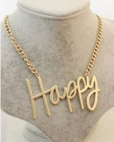 The Wind Major Suit Matte Gold HAPPY English Letter Metal Exaggerated Necklace!#
