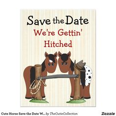 Cute Horse Save the Date Wedding Notice 4.25x5.5 Paper Invitation Card