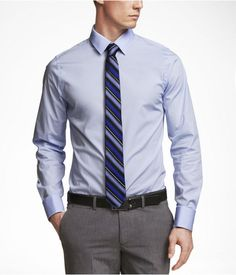 Gray striped dress shirt gray tie gray pants black belt for Express shirt and tie