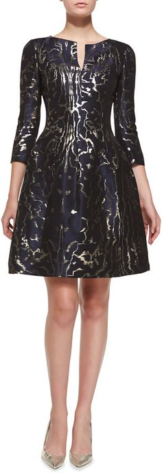Oscar de la Renta 3/4-Sleeve Marble-Print Cocktail Dress on shopstyle.com