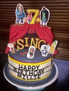 Sing party cake - by Little Fondant Sculptures