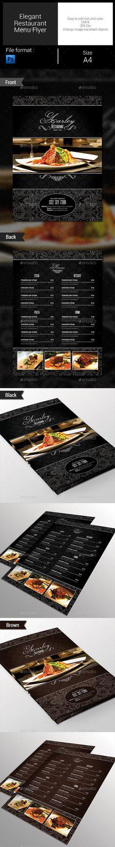 Elegant Restaurant Menu Flyer Template #design Download: http://graphicriver.net/item/-elegant-restaurant-menu-flyer/9671212?ref=ksioks