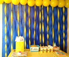Love the design! Color combinations are unlimited! Minion Birthday, Minion Theme, 3rd Birthday Parties, Birthday Fun, Birthday Ideas, Minions Decorations, Yellow Party Decorations, Stage Decorations, Design Color