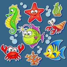 algas: Adesivos de animais marinhos dos desenhos animados bonitos