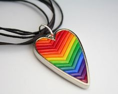 Rainbow Heart Pendant in Polymer Clay Chevrons by StarlessClay,