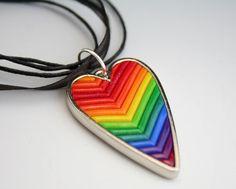 Rainbow Heart Silver Pendant in Fimo Filigree