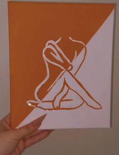 Orange & White diagonal silhouette painting Silhouette Painting, Aesthetic Painting, Orange