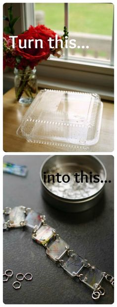 Green! Recycle those yucky plastic boxes! Did you know #6 plastic can be used for shrinky plastic?