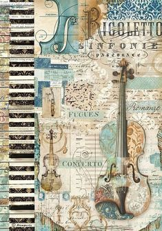 """""""Rigoletto Violin"""" Rice Paper (in blues); for decoupage - by Stampetia Decoupage Vintage, Vintage Diy, Vintage Ephemera, Vintage Paper, Vintage Images, Vintage Music, Vintage Cards, Printable Scrapbook Paper, Scrapbook Templates"""