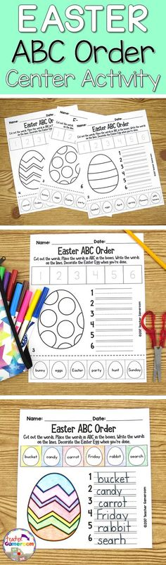 Students cut out words and paste Easter words in ABC Order. They also write them in order to help with writing practice. Great for Easter or April activities. CCSS aligned