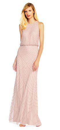 f2adbc905bb Art Deco Beaded Blouson Dress with Halter Neckline
