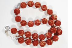 Natural Grass Coral necklace with 925 sterling silver chain & spacers by ATENEA