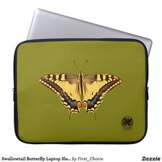 Shop Swallowtail Butterfly Laptop Sleeve created by First_Choice. Personalized Signs, Butterfly Print, Travel Bags, Laptop Sleeves, Zip Around Wallet, Pouches, Prints, Accessories, School