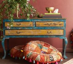 bohemian decor richly layered color and sideboard with perfectly plump round cushions ottoman style with charming tassels and always the greenery Bohemian Interior, Bohemian Design, Bohemian Decor, Bohemian Bedrooms, Bohemian Furniture, Distressed Furniture, Painted Furniture, Furniture Makeover, Diy Furniture