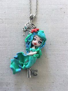 Mermaid, doll, polymer clay, necklace, pendant di LeGinestreBianche su Etsy