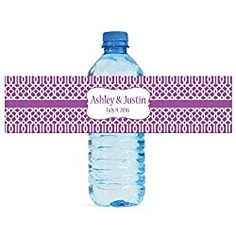 """100 Purple Trellis Moroccan Background Wedding personalized Water Bottle Labels Engagement Party 8""""x2"""""""