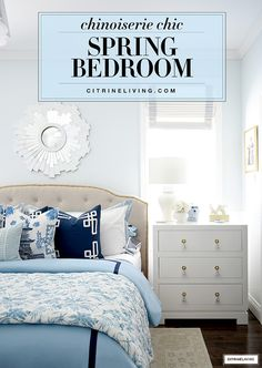 Spring bedroom decorating in layers of blue and white chinoiserie chic style! Spring Home Decor, White Home Decor, Small House Decorating, Decorating Tips, Easter Decor, Easter Ideas, White Bedroom, Master Bedroom, Home Decor Inspiration