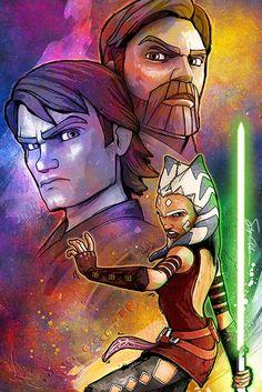 Ahsoka Tano, Obi Wan Kenobi y Anakin Skywalker.