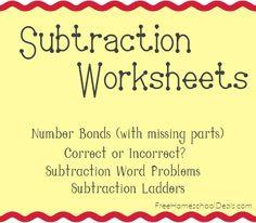 Free Subtraction Worksheets: Subtraction Ladders, Word Problems, Number Bonds
