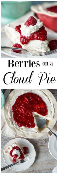 Berries on a Cloud Pie is so heavenly! A delicious dessert with fresh berries and a MERINGUE pie crust! The filling and cream cheese and a surprising ingredient! Brownie Desserts, Oreo Dessert, Mini Desserts, Coconut Dessert, Meringue Desserts, Meringue Pie, No Bake Desserts, Just Desserts, Delicious Desserts