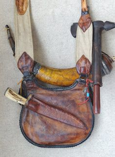 Contemporary Makers: Hunting Pouch and Powder Horn by Gary Birch Leather Gifts, Leather Bags Handmade, Leather Craft, American Women, American Indians, American Art, American History, Native American, Mountain Man Clothing