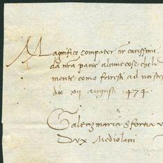 Duke Galeazzo Maria Sforza writes to Lorenzo de' Medici, 1474 August 12.