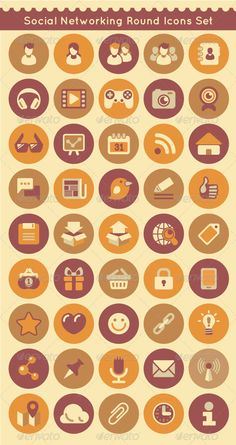 my #vector Social Networking Round #Icons Set