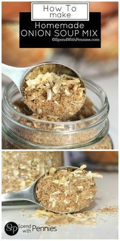Homemade Onion Soup Mix is easy to make and can replace an Onion Soup Mix Packet in a recipe! Perfect for french onion dip, potatoes, chicken and meatloaf! (beef and potato stew soup mixes) Homemade Onion Soup Mix, Homemade Spices, Homemade Seasonings, Recipe For French Onion Soup Mix, Recipe For Onion Dip, Potato Onion Soup Mix Recipe, Homemade French Onion Dip, Lipton Onion Soup Mix, Healthy Recipes