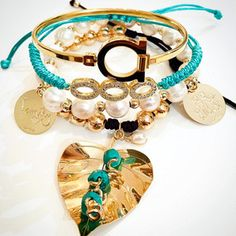 Set By Vila Veloni Female Gold and Turquoise