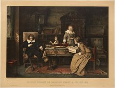 """Scene with John Milton( 1608-1674) seated at left with his head down at a table with three women at right, two with writing instruments and paper.  title: .""""John Milton dictating """"Paradise Lost"""" to his daughters Mihály Munkácsy (20 February 1844 – 1 May 1900) was a Hungarian painter,"""