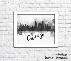 Printable Chicago Watercolor Poster Chicago by eDesignss on Etsy