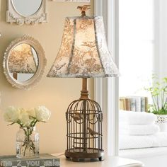 NEW French Country Shabby Chic Bird Cage Table Lamp Toile Shade T4