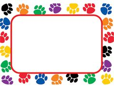 Colorful Paw Prints Name Tags