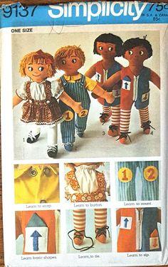 Vintage 1970 Simplicity  Pattern #9137 Learning Rag Dolls