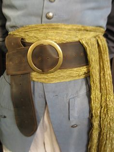 Leather Pirate Belt - Fits All Sizes - Dark Brown, Weathered/distressed - SCA LARP Cosplay Reenactment. $55.00, via Etsy.