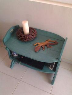 Een oud bijzet tafeltje aangepast aan mijn interieur.
