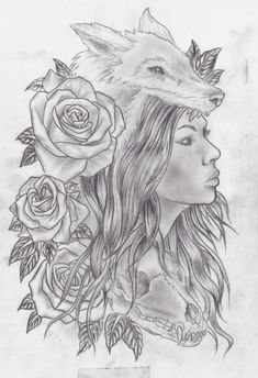 Wolf girl with skull and roses by Slabzzz.deviantart.com on @deviantART