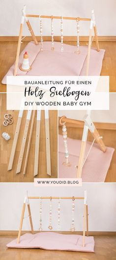 Building Instructions for a DIY Wooden Play Arch Scandinavian Style Wooden Babyg . - - Construction manual for a DIY wooden arcade in Scandinavian style Wooden Babygym Activity Ceiling Nordic Interior Play Gym Baby Room Boy, Baby Nursery Diy, Baby Baby, Poppy Nursery, Scandinavian Style, Scandinavian Toys, Diy Baby Gym, Baby Gym Mat, Diy Bebe
